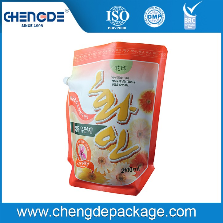 stand up shape packaging pouch with spout for detergent