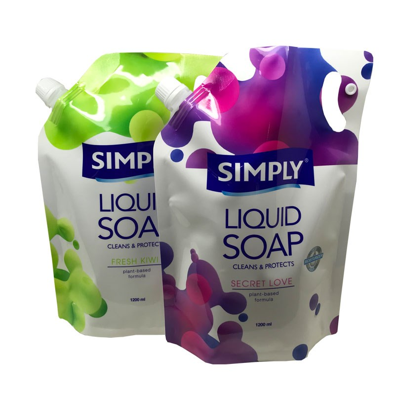 cleans & protects liquid soap packaging pouch